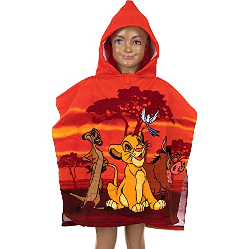 Poncho de baño con capucha para niños del Rey León 2021, 55 x 110 cm, de The Lion King Disney, toalla de baño con capucha, toalla de playa, para niños, piscina, mar