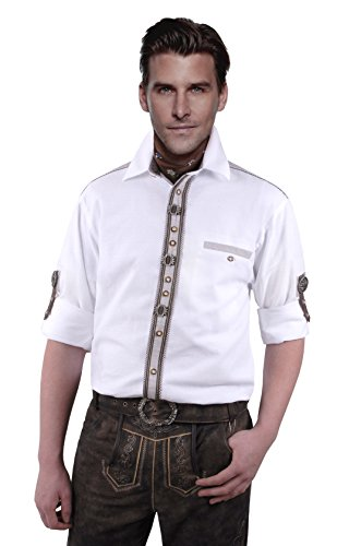 Moschen-Bayern Herren Hemd Trachtenhemd Langarm Kurzarm Wiesn Hemd Trachten Männer Oktoberfest Weiß