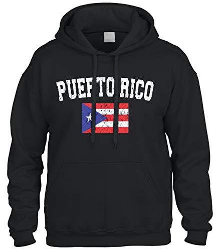 Faded Distressed Puerto Rico Flag Sweatshirt Hoodie Hoody (Black, 2X-Large)