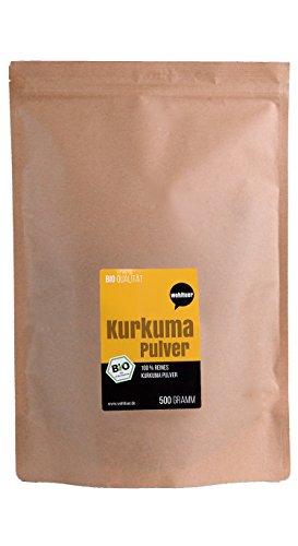 Wohltuer Bio Kurkuma Pulver | Kurkumawurzel gemahlen (500g) Vorratspackung | Bio- & Rohkostqualität