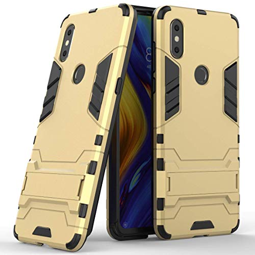 Funda para Xiaomi Mi Mix 3 (6,39 Pulgadas) 2 en 1 Híbrida Rugged Armor Case Choque Absorción Protección Dual Layer Bumper Carcasa con Pata de Cabra (Dorado)