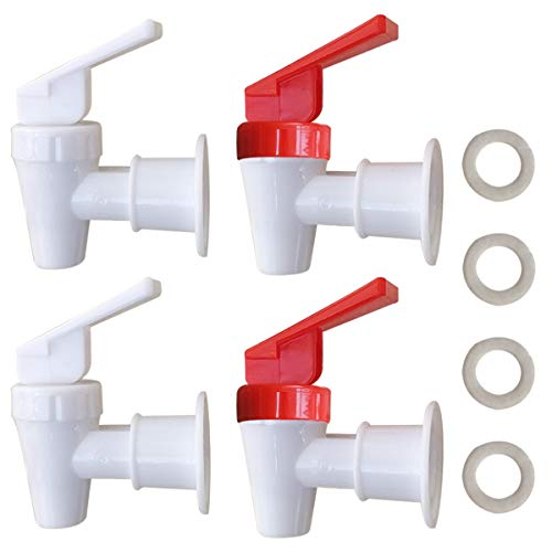 Replacement Cooler Faucet - 2 White and 2 Red Water Dispenser Tap Set - Internal Thread Plastic Spigot.