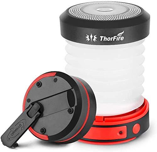 ThorFire Campinglampe LED Faltbare Laterne, Dynamo Tragbar Taschenlampe, Wiederaufladbar durch Kurbel und USB, Campingleuchte für Angeln Outdoor Camping, Schwarz