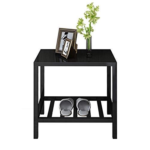 Carl Artbay Home&Selected salontafel, bijzettafel, nacht-salontafel, salontafel voor woonkamer, balkon & kantoor, vierkant rek met 2 dieren, zwart