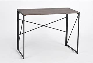 Vintage Dark Brown / Black Metal Frame Computer Laptop Writing Study Desk Modern Home Office with Easy Fold