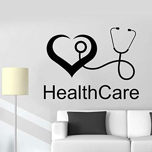 Gesundheit Wandtattoo Gesundheit Herzschlag Tür Fenster Vinyl Aufkleber Krankenhaus Klinik Arztpraxis Innenwand,CJX12634-55x72cm