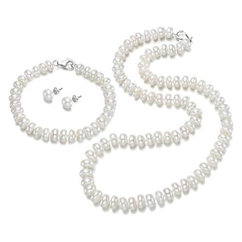TreasureBay Classic Freshwater Pearl Jewellery Set Necklace Bracelet and Earrings for Women