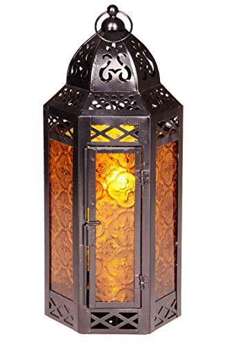 Orientalische Laterne aus Metall & Glas Liyana 30cm | orientalisches Windlicht | Marokkanische Glaslaterne für innen | Marokkanisches Gartenwindlicht für draußen als Gartenlaterne (Orange)