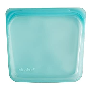 Stasher Reusable Silicone Food Bag, Sandwich Bag, Sous vide Bag, Storage Bag, Aqua