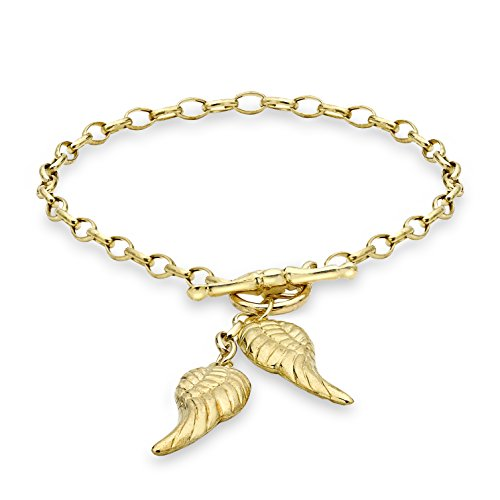 Carissima Gold 9ct Yellow Gold Angel Wings T-Bar Bracelet of 18cm/7'