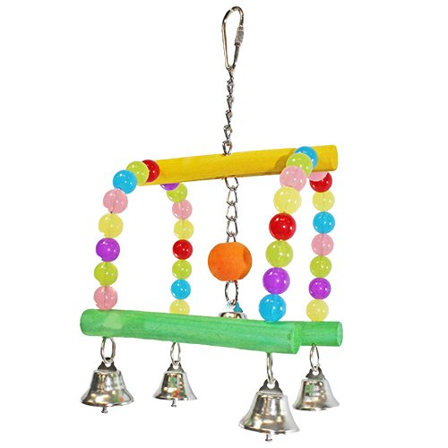 Rock & Roller Swing - Colorful Interactive Hanging Swing Perch Cage Accessory Toy - For Exercise & Play - Sugar Gliders, Squirrels, Degus, Marmosets, Monkeys, Parrots, Birds & Other Small Pets
