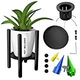 Mid Century Plant Stand with Pot Included- Adjustable Wood Pot Holder 8, 12 Inches with Coaster- Automatic Self Watering Planter Spikes for Indoor & Outdoor- Plant Stands for Indoor Plants