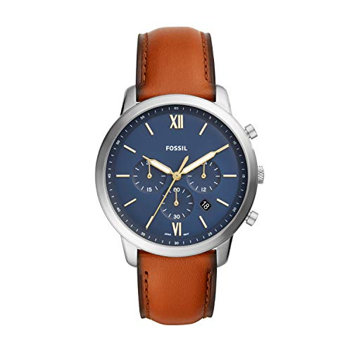 Fossil Men's Neutra Chrono Quartz Leather Chronograph Watch, Color: Silver/Blue, Brown (Model: FS5453)