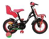 Amigo Spring - Vélo Enfant pour Les Filles - 12 Pouces - avec Frein à Main, Frein à rétropédalage, Porte-Bagages Avant, Siège vélo pour poupée et stabilisateurs vélo - à partir de 3-4 Ans - Noir