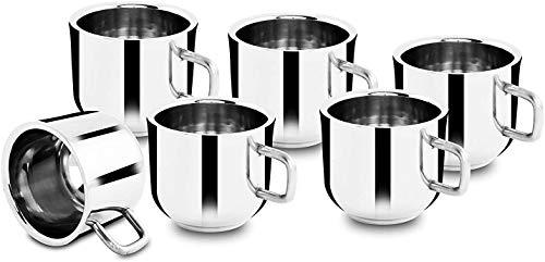 NYGT Doppelwandige Espresso-Kaffeetassen, lebensmittelechter Edelstahl, für Tee und Kaffee, leicht zu reinigen und spülmaschinenfest, 125 ml