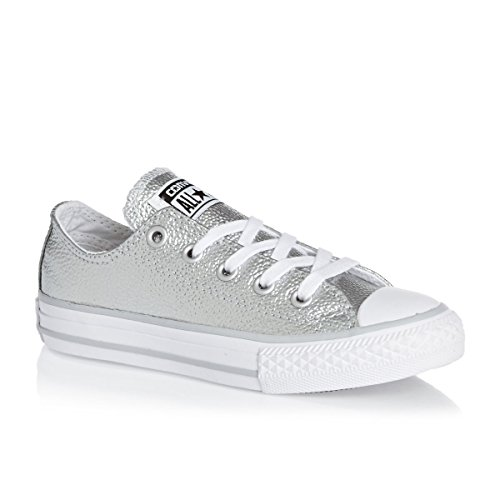 Converse Chuck Taylor All Star Metallic Junior Pure Silver Leather 28.5 EU