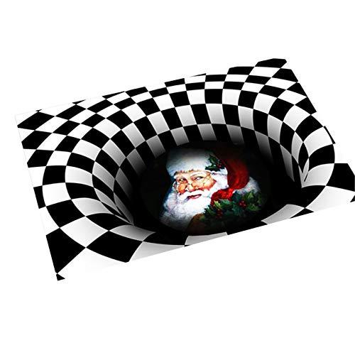 Dunmo Felpudo de Navidad Visual Halloween Alfombra 3D impresa ilusión felpudo antideslizante para el hogar