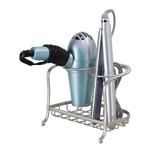 iDesign Soporte para secador de pelo, pequeño estante de baño de metal, soporte de pie independiente con 2 compartimentos para secador y plancha, plateado mate