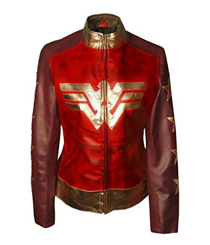 Wonder Woman Gal Gadot Diana Liga de la Justicia para mujer encerada chaqueta de cuero sintético