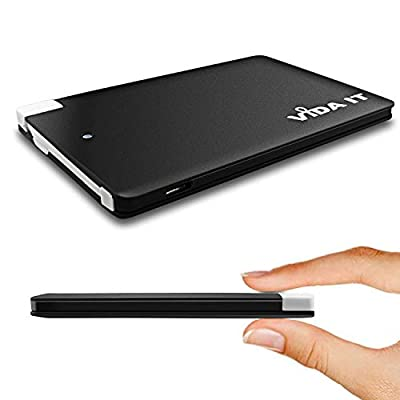 Vida IT 2500mAh vCard Slim Thin Credit Card Power Bank Portable USB External Battery Charger with Built-In Micro USB Attached Cable Lead For Android Mobile Phone Small Size Mini Lightweight Compact