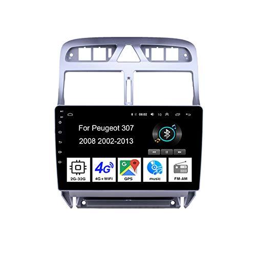 Autoradio Android Car Radio Stereo 9 Pulgadas Pantalla Táctil para Peugeot 307 2002-2013 Conecta Y Reproduce Cámara De Respaldo Estéreo De Coche Auto DVD Player,4Cores 2G32G
