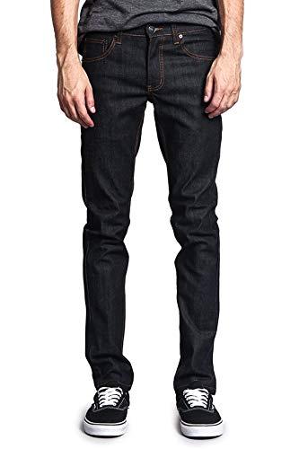 Victorious Men's Skinny Slim Fit Stretch Raw Denim Jeans DL936 - Black/Timber - 30/34