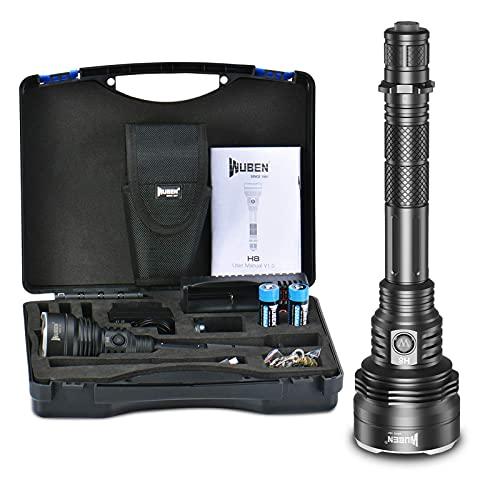 WUBEN H8 Linterna de Caza Profesional 1000m de Largo Alcance Impermeable LED 1800 lúmenes Recargable 6 modos para caza al aire libre senderismo camping