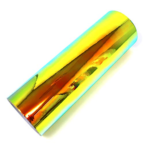 (20,60 €/m²) 1 Meter Flip Flop Hologramm Auto Folie Effektfolie Chamäleon Chrom Carwrapping Plottfolie Bastelfolie DIY Basteln (FF3 Grün/Orange, 63cm)
