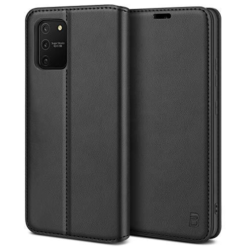 BEZ Handyhülle für Samsung Galaxy S10 Lite Hülle, Premium Tasche Kompatibel für Samsung S10 Lite, Tasche Hülle Schutzhüllen aus Klappetui mit Kreditkartenhaltern, Ständer, Magnetverschluss, Schwarz