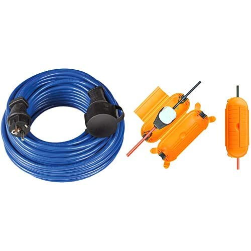 Brennenstuhl 1169810 Cable alargador + 1160440 Caja Protectora, Amarillo