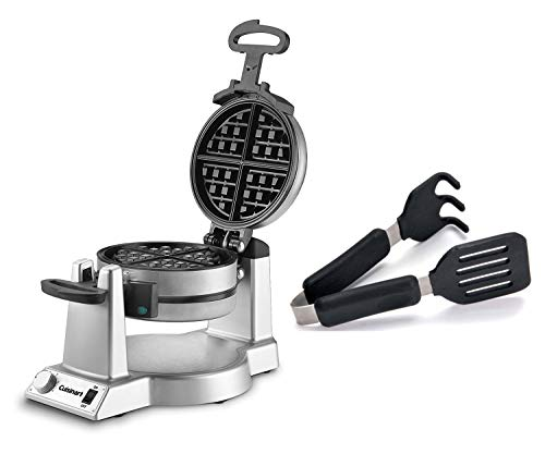 Cuisinart Double Belgian Round Waffle Maker, 1400 Watt Stainless Steel Appliance bundle with Grip-EZ...