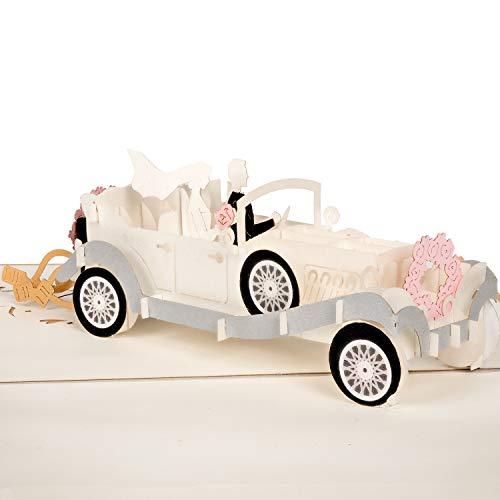 PaperCrush® Pop-Up Karte Hochzeitsauto mit Brautpaar - Lustige 3D Hochzeitskarte, Geschenkkarte als Glückwunsch zur Hochzeit - Handgemachte Glückwunschkarte zum Standesamt