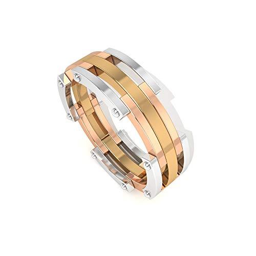 Art Deco Anillo de boda de cinco filas, anillo de compromiso apilable en tres tonos, anillo de compromiso para mujer, anillo de eternidad, anillo de compromiso para novia, 14K Oro amarillo, Size:EU 67
