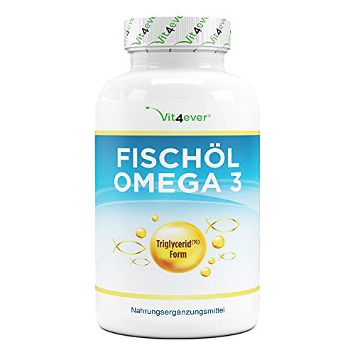 Aceite de pescado Omega 3 en forma de triglicéridos - 420 cápsulas - 1000mg de aceite de pescado por cápsula y los ácidos grasos omega 3 EPA y DHA - Pesca sostenible - Alta pureza