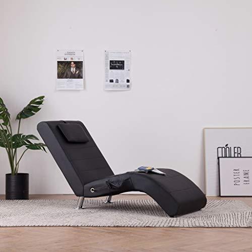 Festnight- Massage Relaxliege mit Kissen | Wohnzimmer Liegesessel | Modern Relaxsessel | Liegestuhl | Sofaliege | Polsterliege | Schwarz/Braun/Grau Kunstleder 144 x 59 x 79 cm