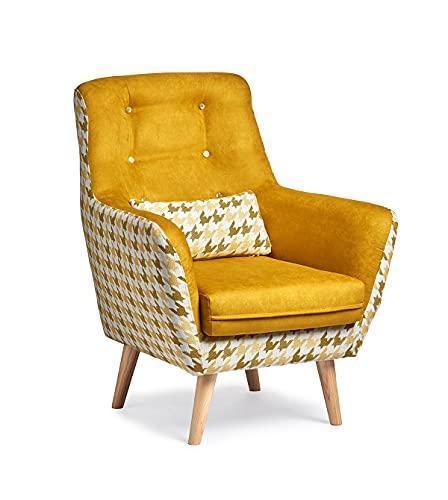 Butaca Viena, sillón de diseño con Estampado de Patas de Gallo. Tamaño reducido para salón o Dormitorio. (Mostaza)