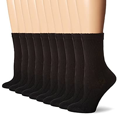 Hanes Women's Big and Tall Cushioned Crew Reinforced Heel Cotton-Rich Knit Athletic Socks, Black, Shoe Size: 8-12