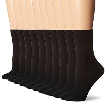 Hanes Women s Shoe Size  8-12 Cool Comfort Moisture Wicking Crew Socks 10-Pair Pack Black