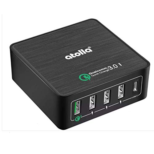5-Port USB Wall Charger with Quick Charge 3.0 Ports, PowerPort Speed 5 for Samsung Galaxy S8 / S7 / S6, Note 4/5, LG G4 / G5, HTC One M8 / M9 / A9, Nexus 6, iPhone, iPad and More