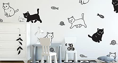 Muralo Papel pintado fotográfico de fieltro, 300 x 210 cm, diseño de gatitos en blanco y negro