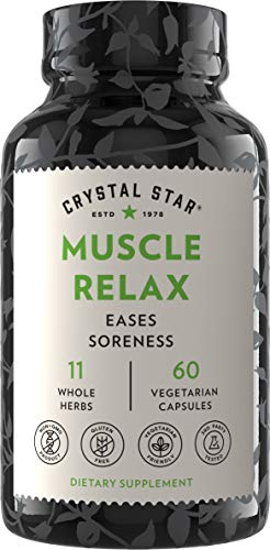 Crystal Star Muscle Relax (60 Capsules) – Herbal Pain Relief from Sore Muscles, Cramps & Spasms – Valerian Root, Jamaica Dogwood & Cramp Bark - Non-GMO & Gluten Free