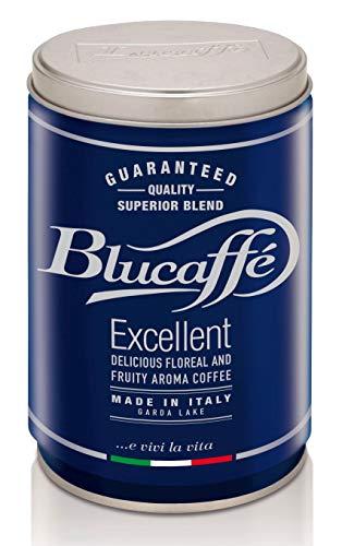 LUCAFFÈ Blucaffè Café molido , lata de café x 250 gr, aluminio que ahorra aroma, café molido Arábica gourmet, sabor afrutado, tostado medio, cuerpo medio, aroma intenso