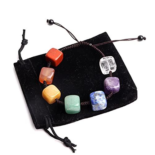 DFGDFG 1 PC Piedra Natural 7 Chakra Pulsera Cube Cristales Universo Pulseras de Yoga Universo Pulseras Ajustables Curación para Hombres Mujeres Joyería (Color : 7chakra Bracelet, Size : 1pc)