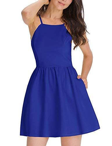 FANCYINN Damen Sommerkleid Armellos Spaghetti-Armband Kleider Elegant Rückenfreies Kurze Kleid Minikleid Blau M(38-40)