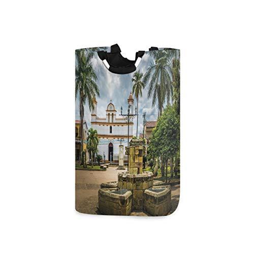 NOLYXICI Wäschesack Reisen Maya-Stadt mit Palmen drucken Großer Faltbarer Wäschekorb,zusammenklappbarer Wäschekorb,zusammenklappbarer Waschvorratsbehälter