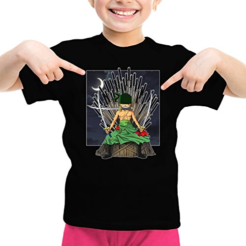 T-Shirt Enfant Fille Noir One Piece - Game of Thrones parodique Zorro Roronoa X Eddard Stark : Game of Swords (Super Deformed) (Parodie One Piece - Game of Thrones)
