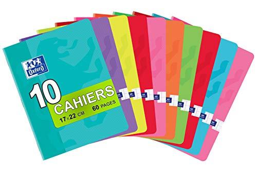 OXFORD Classique Lot de 10 Cahiers Agrafés Petits Formats 17 x 22cm 60 Pages Grands Carreaux Seyès 90gr Couleurs Assorties