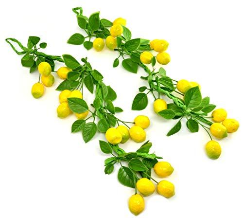 2 paquetes Cuerda de limón Artificial Planta de plástico artificial Flores para la decoración del hogar Plantas de plastico Flores Limón Limones