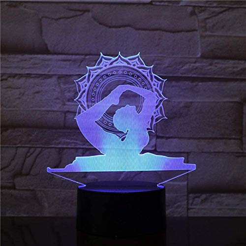 Lámpara de mesilla Bluetooth Lámpara de mesa de modelado de yoga USB 3D LED Lampara Dancer NightLights 7 colores Acrílico Mesita de noche Iluminación para el hogar Decoración del hogar