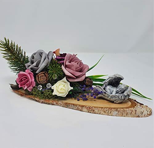 Grabdeko Herbst Gesteck Grab Engel Rosen Trauer Gedenken Urnengrab